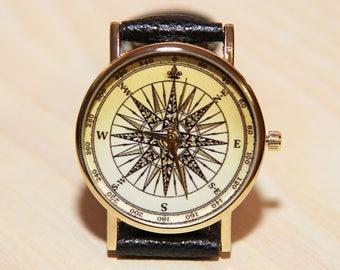 Watches compass, a watch for the traveler, men's watches, women's watches, orange watch, gift watches, watch wedding, Compass Watch