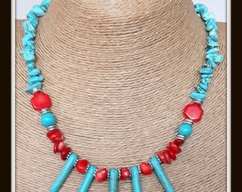 turquoise necklace, coral necklace,korallenkette,  coral and turquoise necklace, stylish necklace,  rod and broken turquoise