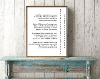Invictus Print, I am the Master of my Fate Motivational Poster Inspiring Print, I am the captain of my soul, inspiring home decor