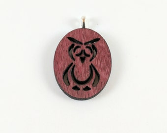 wood jewelry - wood necklace - owl pendant - wooden pendant - wooden jewelry