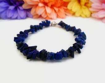 Lapis lazuli bracelet, gift for writers, for artists, stone of wisdom & truth, natural healing, 6th - sixth - chakra stone, deep blue anklet