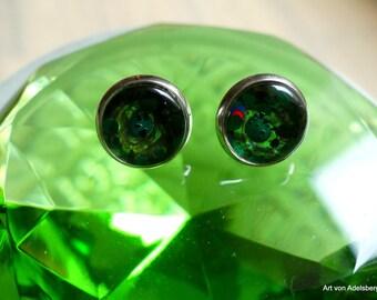 Earrings, Cabochon, green, grass, party, love, stud earrings