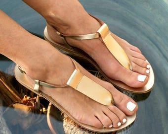CHLOE 5 sandals/ Greek leather sandals/ t-strap sandals/ ancient grecian sandals/ thong sandals/ handmade sandals/ Greek flats/ gold sandals