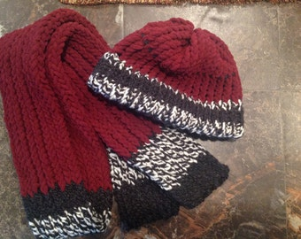 Warm soft hat and scarf