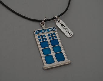 Doctor Who Necklace, Tardis Police Box,  Blue Tardis, Dr who gifts, Doctor Who BBC Cosplay