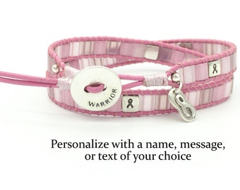 Personalized Breast Cancer Awareness Wrap Bracelet Sterling Silver