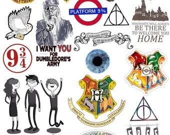 Harry Potter sticker sheet | 9 and 3/4 | Hogwarts | Golden Trio | Owl Hedwig | Deathly hollows