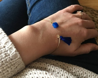 Blue Bangle, clover and TASSEL bracelet