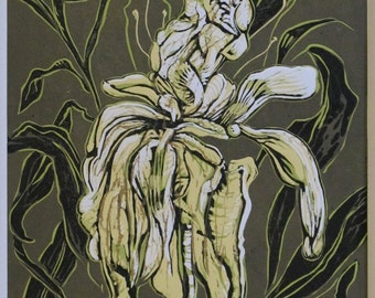 Unframed Reduction Linocut Peony #3 (mat not included)