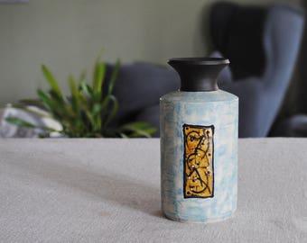 Stoneware vase, Ceramic vase, Turquoise vase, Flower vase, vase à fleur turquoise François Grenier