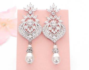 Pearl drop earrings, pearl wedding jewelry, Art Deco, wedding earrings, wedding accessories, long pearl earrings vintage, bridal jewelry