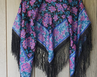 Lovely Silk Shawl with Long Fringe