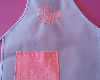 Embroidered Pink Lace Apron