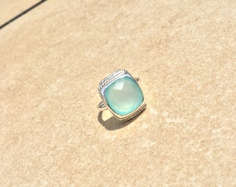 ON HOLD Faceted Natural Aqua Chalcedony Sterling Silver Ring Size 7 925