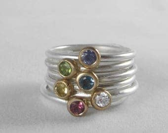 Gemstone Stacking Rings * 14k Gold & Sterling Silver with Natural Gemstone of Your Choice