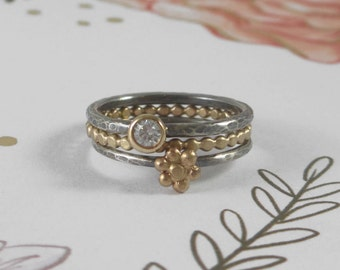 14k Gold Daisy Flower and Gemstone Stacking Set * Gold Dotted and Sterling Silver Bands * Nature Inspired Delicate