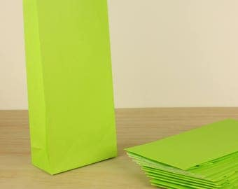 100 Lime Green Bags - Lolly Bag For Party Wedding Gift Loot Candy Buffet - Small Craft Flat Bottom