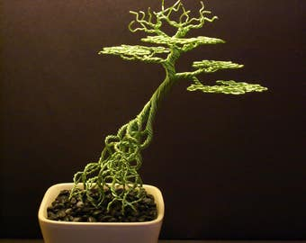Wire Bonsai #05 - Lime green slanting tree with exposed roots