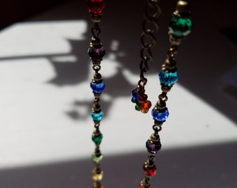 Rainbow and Bronze Czech Crystal Necklace