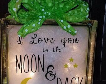 I love you to the moon and back glass block light