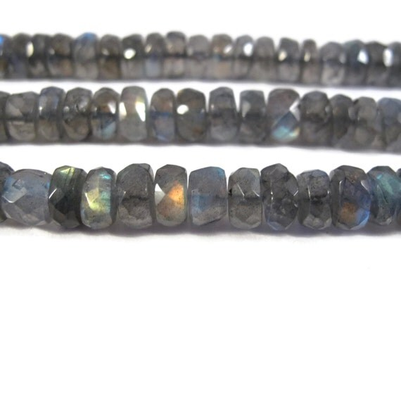 Natural Labradorite Beads, Faceted Gemstone Rondelles, 6.5 Inch Strand, Over 30 Natural Gemstones for Making Jewelry, 8mm - 9mm (R-Lab8a)