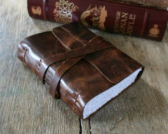 "Leather Journal . Albert Einstein quote ""The important thing is not to stop questioning..."" handmade handbound . dark brown (320 pgs)"