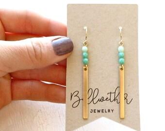 Turquoise Earrings / Dangle Earrings / Gold Earrings / Boho Earrings / Modern Earrings / Long Earrings / Minimalist Earring / Simple Jewelry