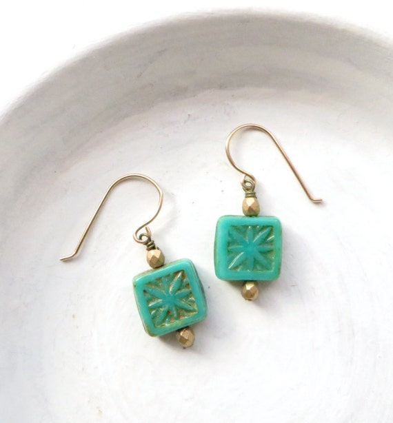 Turquoise Earrings / Small Earrings / Simple Earrings / Bridesmaid Gift / Bridesmaid Earrings / Gift Under 15 / Dangle Earrings / Handmade