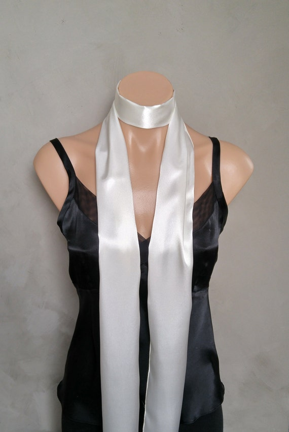 "Ivory Scarf, Off White Satin Reversible Skinny Scarf, Silky Scarf, White Two Sided Scarf, Satin Scarf White, White Skinny Scarf, 71"" X 6"""