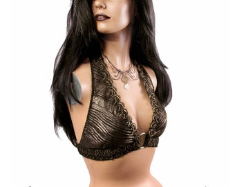 Halter, A Cup, Gold, Dark Fusion, Noir, Gothic Bellydance, Carnival, Tribal, Cosplay, Bra, Goth