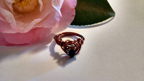 Petite Midnight Sapphire Gemstone and One Point Diamond Accent Copper Color Wire Wrapped Ring Handmade Upcycled Real Gemstones