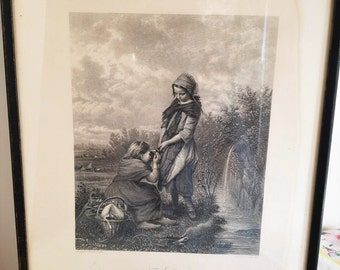 Vintage Italian Engraving, Print THE SPRING Published by George Barrie, Beautiful, Campotosto