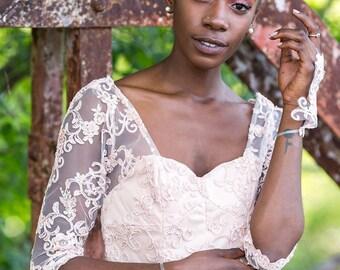 Jenny, Alencon lace mini dress with 3/4 sleeves, Silk chiffon, bronze