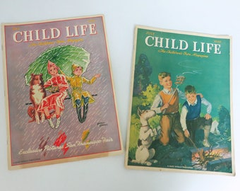 Two 1939 Child Life Magazines, May & July, Rand McNally Publication for Children with Stories, Poems, Things to Do and More