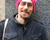 Pink hat, handknit, wool, merino wool, alpaca, acrylic, pussyhat