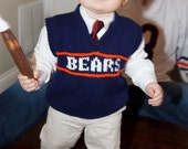 Hand Knit  MADE TO ORDER Bears Child Knitted Sweater Vest - Size  2T to size 10 Children