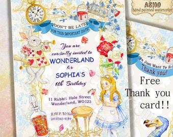 SALE Hand Drawn Alice in Onederland Invitation, Alice in Wonderland Invitation, Free Thank You Card, Alice in Wonderland Birthday Invitation