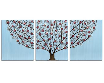 Flowering Tree Painting Wall Art in Blue and Wine Red on Canvas Triptych - Large 50x20