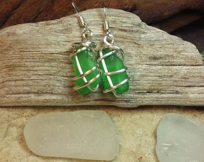 Lake Michigan Beach Glass Earrings - White or Green Sea Glass - Eco Friendly Birthday Gift for Her - South Shore Beach Glass by Goofy Moose