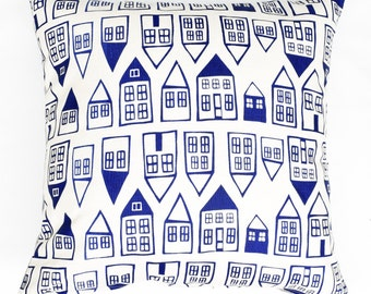 The Neighborhood - organic, hand printed pillow, cobalt blue decor, house pattern, modern accent cushion, housewarming present