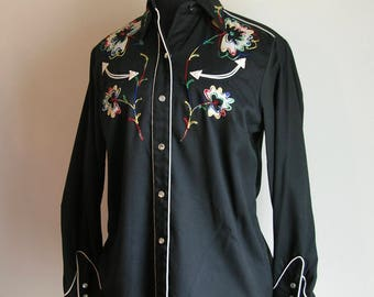 Vintage 60's H Bar C Black Floral Embroidered Cowboy Shirt with Pearlized Snap Buttons