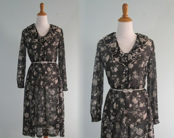 Sweet 70s Sheer Black and White Floral Dress - Vintage Ms. Sugar Secretary Dress - Vintage 1970s Dress M L
