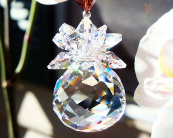 Crystal Suncatcher Swarovski Crystal Brown Feng Shui Decor