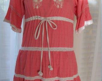 60s 70s Vintage Handmade Mexican Pointelle Day Dress Crochet Trim Childs or Size S