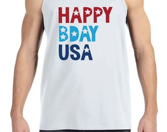 Men's 4th of July Tank Top - Happy Bday USA - White Tank - Independence Day Shirt - 4th of July Party Shirt - Mens Patriotic Shirt