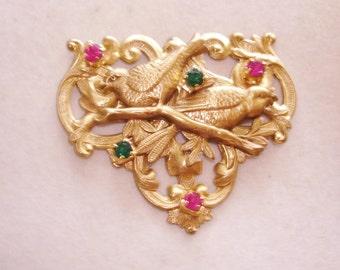 Love Birds  Rhinestone Flower Brooch Multi Tone Repousse KL Design