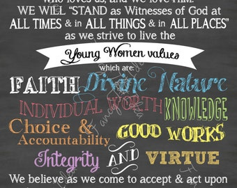 """LDS YW Young Women's Theme Chalkboard Digital Image 24""""x36"""", 20x30, 12x18, 8x12, 4x6"""