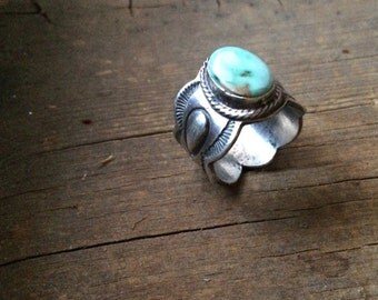 Vintage Navajo Will Denetdale size 7.5 thick sterling silver repousse turquoise wide band, Native American turquoise silver Navajo ring