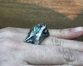 Hissing Cat Ring in Sterling Silver with Chrysoprase Eyes