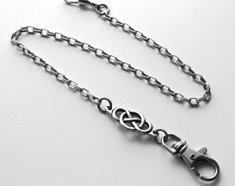 Personalized Pocket Watch Chain Antique SILVER Irish Celtic Infinity Knot Monogram Fob Unique Vintage Wedding Anniversary St. Patrick's Day